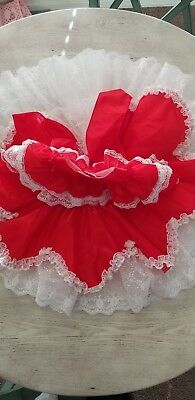 Vintage  girls Red party dress Lace Ruffles. Size 4T