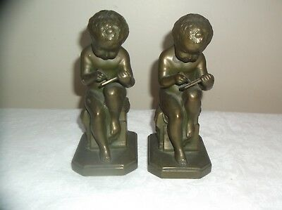 Jennings Bros JB 797 Antique Boy with Book Bronze book ends. (Pair)