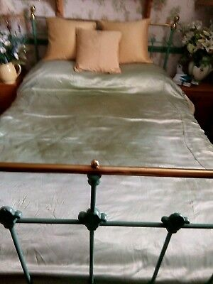 Genuine Pair of Art Deco Satin Green Single Bedspreads  matching  Not perfect..