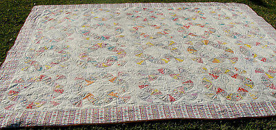 "1930s Fan variant cotton patchwork all hand quilted quilt, 104"" x 86""  *"