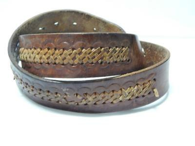 "Vintage Tooled Western Cowboy Brown Leather Belt - "" Rich ""  Size 31-37+"