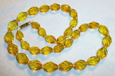 Antique Vintage Yellow Amber Color Cut Glass Crystal Beads Necklace