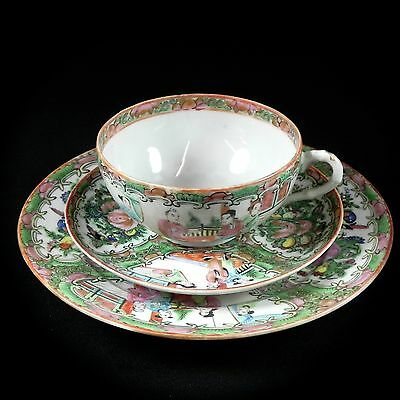 Chinese Export Rose Medallion Trio Antique Cup, Vintage Saucer & Luncheon Plate