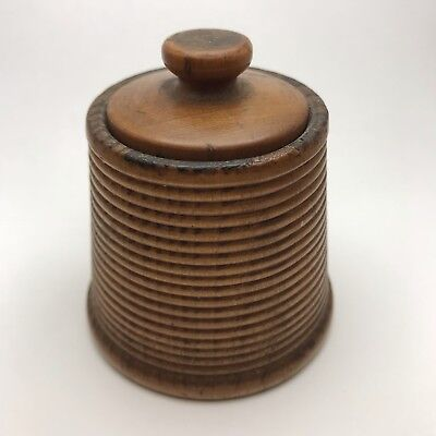 Antique Treenware Carved Wooden Sewing Thread Box