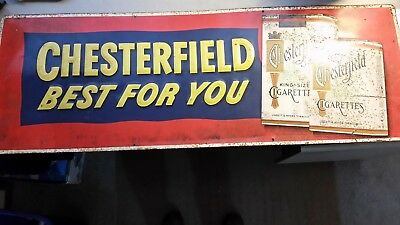 Vintage Chesterfield Cigarette Best For You Embossed Metal Advert Sign 32 x 12