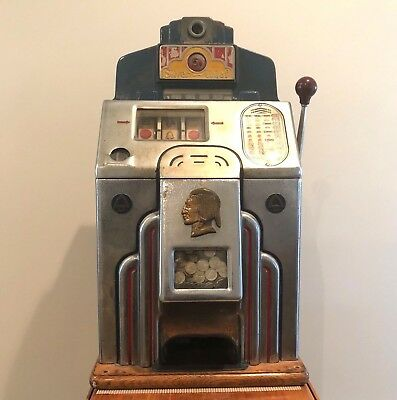 Jennings Silver Chief 5 Cent Antique Slot Machine Works Great All Original