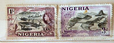 Nigeria 1950's ,Queen Elizabeth II  Timber and River Niger   Cancelled