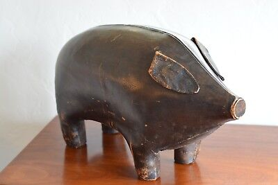 Vintage 50s 60s Leather Pig Ottoman Footstool - Abercrombie / Omersa