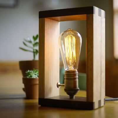 The Alto Lamp: Solid Wood Dimmable Shadow Box Accent Desk Lamp by Freeform Made