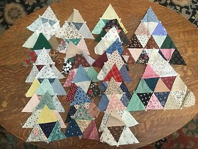 Lot Of 26 Vintage Quilt Pieces, Hand Pieced