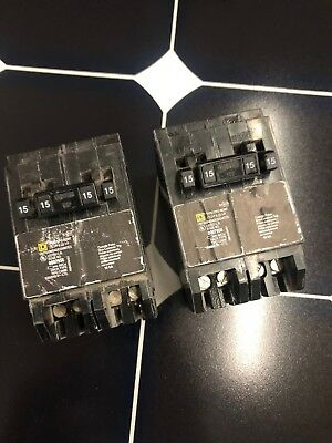 Square D Homeline Circuit Breaker 15 Amp Single Pole 15 Amp 2 Pole Quad Tandem