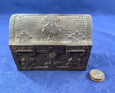 Antique Vintage Cast Iron (CI) Still Bank - Large Treasure Chest