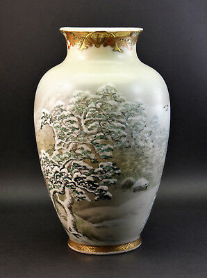 ANTIQUE 19th JAPANESE MEIJI (1868-1912) PORCELAIN VASE SNOW WINTER SCENE, SIGNED