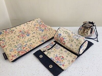 Longaberger Large Zippered Spring Floral Purse Cosmetic Bag & Jewelry Pouch Lot