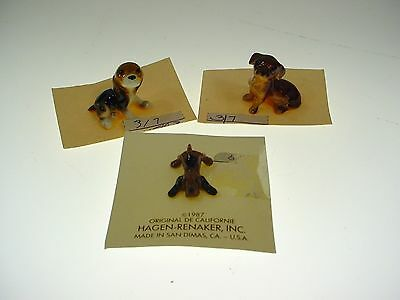 Vintage Hagen Renaker Dog Figurine Lot Dachshund Beagle Puppy On Cards