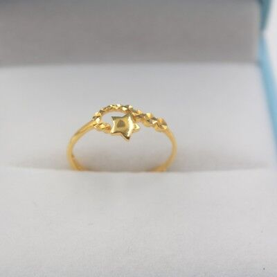 Pure Solid 18K Yellow Gold Ring Women Fashion Lucky Star Ring Adjustable