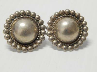 ANTIQUE VINTAGE MEXICAN STERLING SILVER colonial EARRINGS MEXICO - NR !