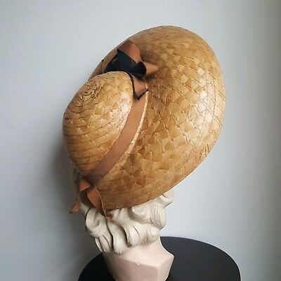 Vintage 1930s 1940s Wide Straw Hat Ribbon Bow Brown Navy Blue