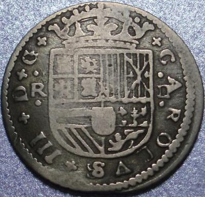 1713 Key Date PRETENDER to SPAIN Silver TWO REALES of the FIRST King CHARLES III