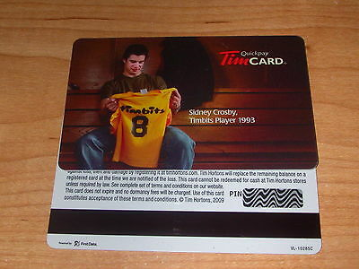 Tim Hortons Sidney Crosby Limited Edition Gift Card VL10285C Grey Back