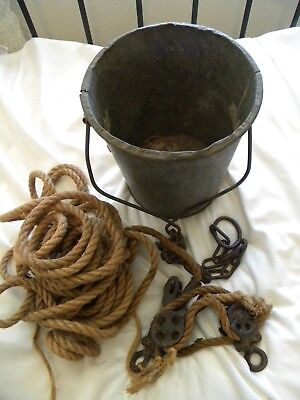 vintage galvanized #10 well water bucket with cast iron pulley, chain, and rope
