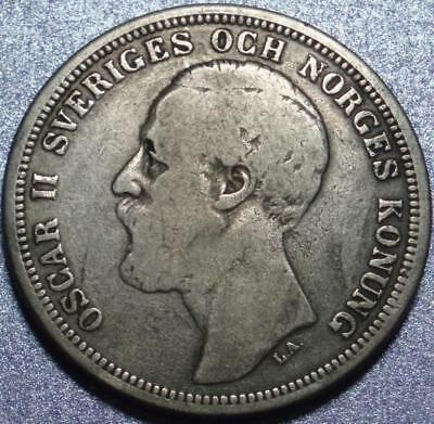 1880 SWEDEN Silver 2 KRONOR of KING OSCAR II >Lowest Mintage JUST 127,684 PIECES