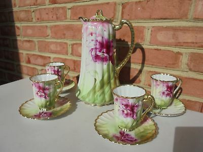 Vintage Antique Nippon Porcelain HP Chocolate Pot Set w Cups Saucers Orchids
