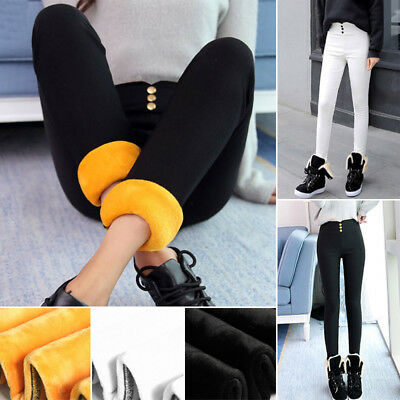 Women Fleece Lined Pants Winter Thick Thermal Solid Cotton Leggings Trousers