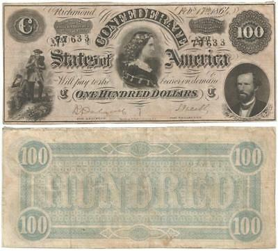 "1864 CONFEDERATE STATES of AMERICA, ""Lucy Pickens"" $100.00 NOTE Type 65 ORIGINAL"