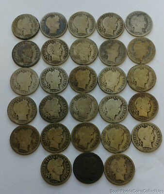 Lot of Barber 90% Silver Dimes 1892-1916 Mixed Dates P/D/S Mint marks