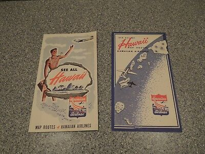 Vintage 40's/50's Hawaiian Airlines Map routes Brochure lot of 2