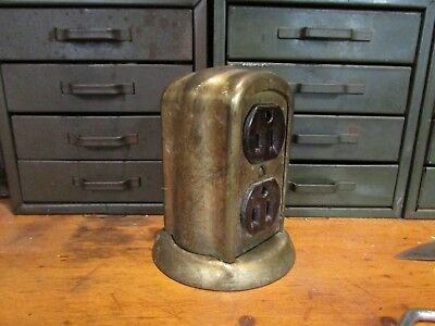 Antique Brass Tombstone Style Electrical Outlet U.S.A.