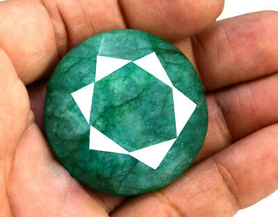 165ct Natural Faceted Round Shape Green Emerald Loose Gemstone Pendant Jewelry