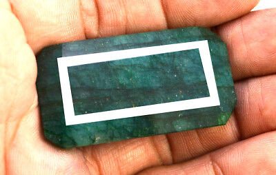 129ct Natural Faceted Rectagular Green Emerald Loose Gemstone Pendant Jewelry