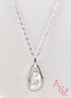 NF Sterling Silver 925 Linked Chain White Stone Necklace 18-24'' (8.5g) - 744048