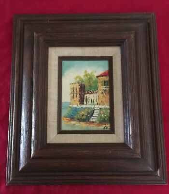 Vintage OIL PAINTING IMPRESSIONISM LOVELY ITALIAN WATER COAST SCENE Framed 15""