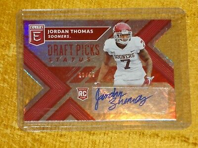 2018 Panini Elite Draft Jordan Thomas Rookie/rc Auto #20/49 Status Die-Cut