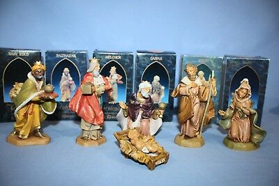 Fontanini Lot of-6 Nativity Figures w/Boxes Italy Mary/Joseph Jesus & 3-Wise Men
