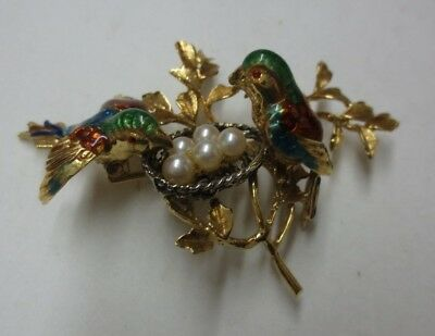 18KT Solid Yellow Gold Enameled Nesting Birds w/ Pearls Pin/Brooch (GORGEOUS)