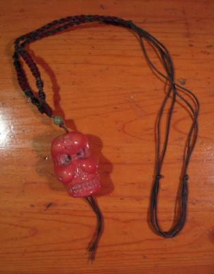 Old Large CORAL TIBETAN SKULL*DEMON BEAD NECKLACE Hand Carved Buddhist Antique
