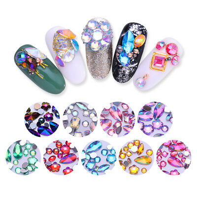 300 Pcs/Bag Acrylic Mixed Rhinestone 3D Nail Art Decoration Colorful Design DIY
