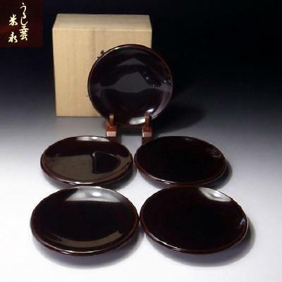 VL6: Vintage Japanese 5 High-class Wooden Tea Plates, Wajima lacquer ware