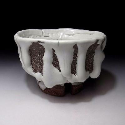 YM2: Japanese Hagi Ware Tea Bowl with Notched foot by Seigan Yamane, Oni-Hagi
