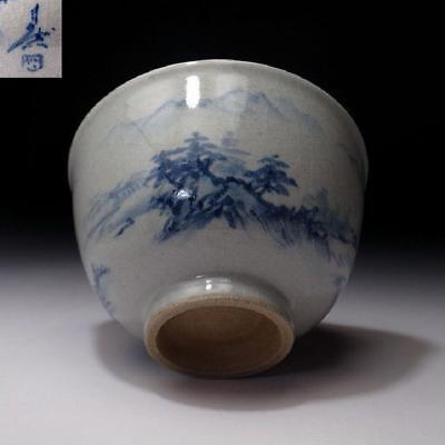 XR6: Vintage Japanese Hand-painted pottery Tea Bowl, Kyo Ware, Natural landscape