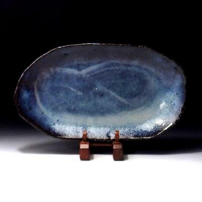 YL2: Japanese Tea Plate of Hagi Ware by Famous Potter, Seigan Yamane, Blue glaze