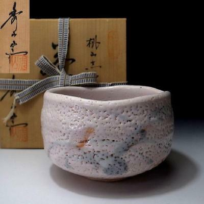 XL2: Vintage Japanese Tea bowl of Shino ware by famous potter, Shuichi Sawada