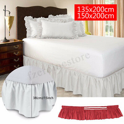 15'' Drop Queen Bed Skirt Ruffled Romantic Bedspread Cover Without Bed