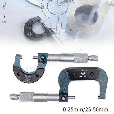 MICROMETER 25-50mm METRIC OUTSIDE EXTERNAL CALIPER MEASUREMENT READING