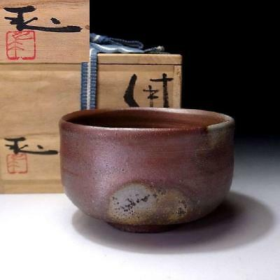 XP3: Vintage Japanese Pottery Tea bowl, Bizen ware with Signed wooden box