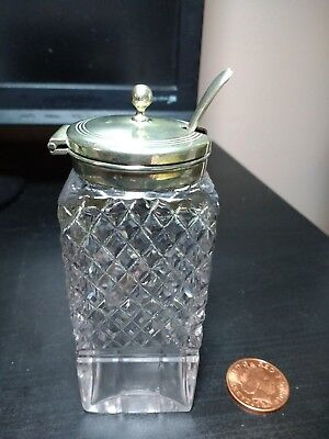Antique cut glass and white metal mustard pot with spoon
